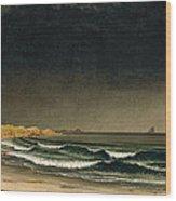 Approaching Storm. Beach Near Newport Wood Print