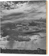 Approaching Storm Black And White Wood Print by Douglas Barnard