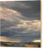 Approaching Storm On Country Road Wood Print