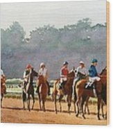 Approaching The Starting Gate Wood Print by Mary Helmreich