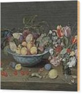 Apricots Plums And Grapes In A Bowl Wood Print
