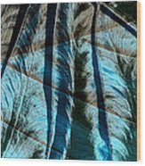Aqua And Brown Leaf Montage Wood Print by Bonnie Bruno