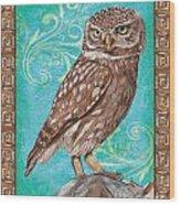 Aqua Barn Owl Wood Print