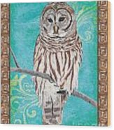 Aqua Barred Owl Wood Print