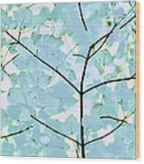 Aqua Blues Greens Leaves Melody Wood Print