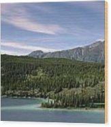 Aqua Green Mountain Lake Wood Print
