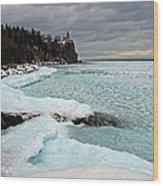 Aqua Ice At Split Rock Lighthouse Wood Print