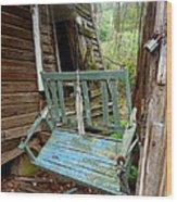 Aqua Porch Swing Wood Print