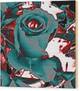 Aqua Rose - Abstract Wood Print