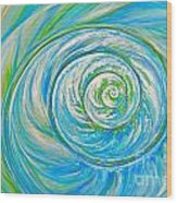 Aqua Seashell Wood Print