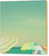 Aqua Sky With Umbrellas Wood Print