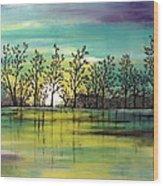 Aqua Sunset Wood Print