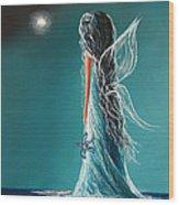 Aquamarine Fairy By Shawna Erback Wood Print by Shawna Erback