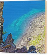 Aquamarine Shoreline At North Junction Of Crater Lake In Crater Lake National Park-oregon Wood Print