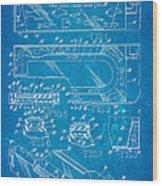Aquarium Bath Patent Art 1982 Blueprint Wood Print