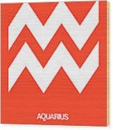 Aquarius Zodiac Sign White On Orange Wood Print