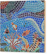 Aquatic Mosaic Tile Art Wood Print