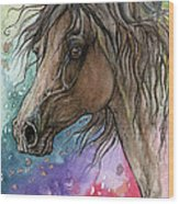 Arabian Horse And Burst Of Colors Wood Print