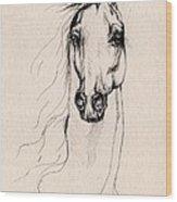 Arabian Horse Drawing 25 Wood Print