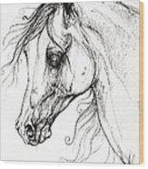 Arabian Horse Drawing 49 Wood Print