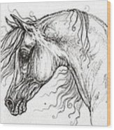 Arabian Horse Drawing 53 Wood Print