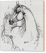 Arabian Horse Drawing 8 Wood Print by Angel  Tarantella