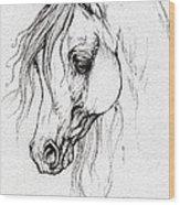 Arabian Horse Drawing Wood Print