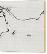 Arabian Horse Sketch 2014 05 24 C Wood Print
