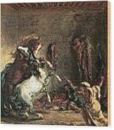 Arabian Horses Fighting In A Stable Wood Print