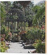 Arbor In The Rose Garden Wood Print