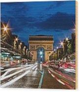 Arc De Triomphe At Dusk Paris Wood Print