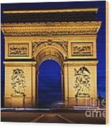Arc De Triomphe At Night Paris France Wood Print