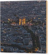 Arc De Triomphe From Above Wood Print