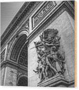 Arc De Triomphe In Black And White Wood Print