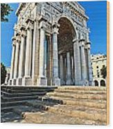 arc of triumph in Piazza Della Vittoria - Genova Wood Print