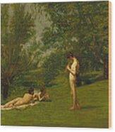 Arcadia Circa 1883 Wood Print by Thomas Cowperthwait Eakins