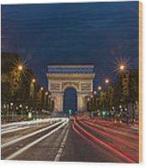 Arch De Triomphe And Avenue Des Champs Elysees Paris France Wood Print