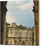 Arch Of Constantine Through The Colosseum Wood Print