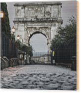 Arch Of Titus Morning Glow Wood Print
