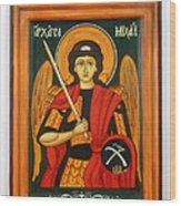Archangel Michael Hand-painted Wooden Holy Icon Orthodox Iconography Icons Ikons Wood Print by Denise Clemenco