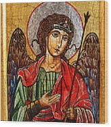 Archangel Michael Icon Wood Print