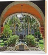 Arched Courtyard Wood Print