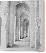 Arched Walkway At Entrance Of The Old Roman Colloseum At El Jem Tunisia Wood Print