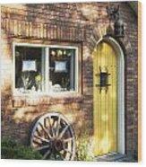 Arched Yellow Door Wood Print