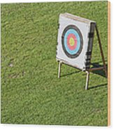 Archery Round Target On A Stand Wood Print