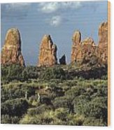 Arches National Park Sunrise Rock Formations  Wood Print