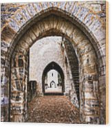 Arches Of Valentre Bridge In Cahors France Wood Print
