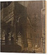 Architectural Fantasy With Figures Wood Print by Stefano Orlandi