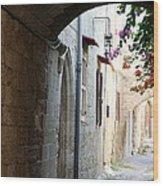 Archway Rhodos City Wood Print