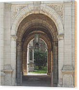 Archway To Courtyard Wood Print